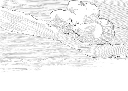 pencil drawn: Retro cloudscape. Vector background of cloudy sky  at engraved style