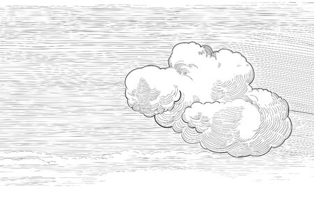 Retro cloudscape. Vector background of cloudy sky  at engraved style Vector