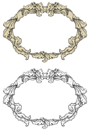 Vintage frames. Vector retro  ornate borders at engraving style. Vector