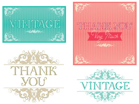 Thank You Typographic Design. Vector banners with inscription \\\Thank You \\\ at retro style Vector