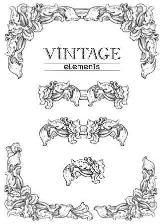 Vintage borders. Vector retro  elements  at old engraving style. Vector
