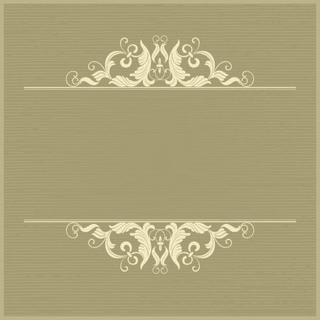Vintage background. Vector retro  background with ornate border at engraving style.