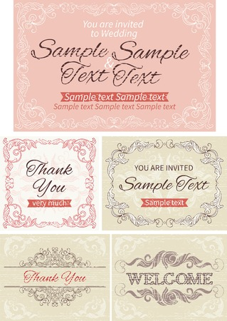 you are welcome: Vintage invitations and frames. Vector banners with inscriptions  at retro style