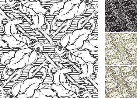 Vintage backgrounds. Vector ornate seamless  patterns with leaves  at retro engraving style. Vector