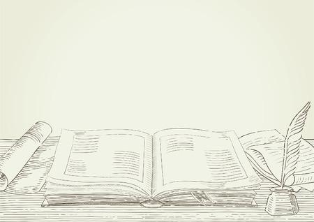Sfondo retrò. Vector background con vecchio libro e oggetti antichi in stile incisione.
