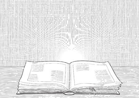 sketch book: Retro background. Vector background with old  book at engraving style.