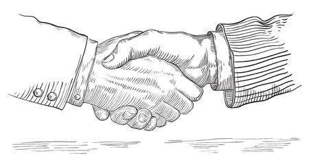 握手する人たち。レトロ スタイルの彫刻で 2 人のビジネスマンのハンドシェイクのベクトル。
