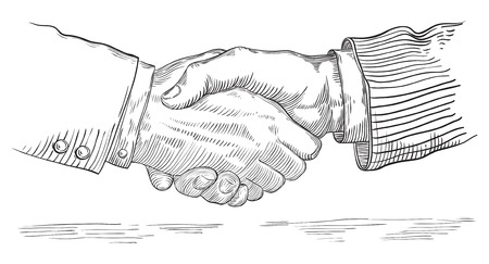 mani che si stringono: Le persone si stringono la mano. Vettore di stretta di mano di due uomini d'affari in stile retr� incisione. Vettoriali