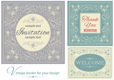 Vintage invitations and frames. Vector banners with floral pattern and  inscriptions  at retro style Vector