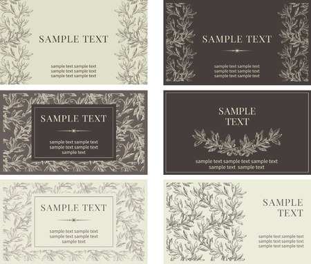 Set of  business cards. Vector banners with inscriptions  at retro style Vector