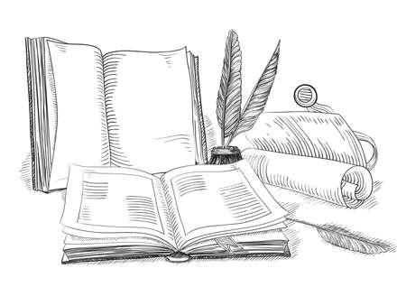 Libri Retro. Vettoriale di vecchi libri e oggetti d'antiquariato in stile incisione.