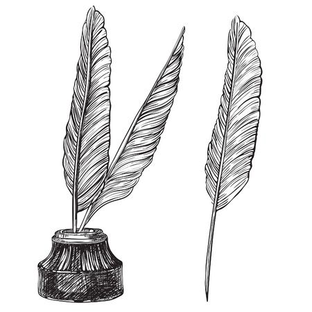 Quill Pens and inkwell Vector set of retro inkwell and quill feathers at engraving style. Vectores
