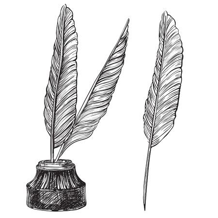 pluma de escribir antigua: Quill Plumas y Vector conjunto de tintero tintero y plumas de ave retro en el estilo de grabado.