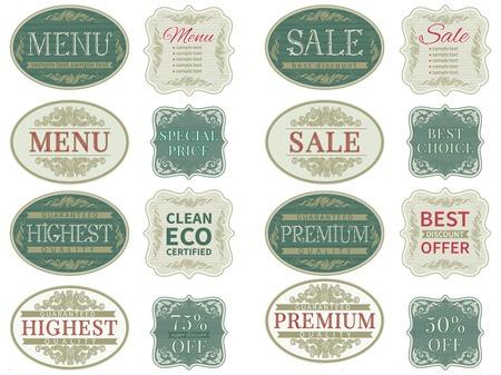 Vintage label set  of retro premium quality labels and vintage  border for  design.  Vector