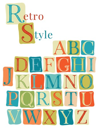 Handwritten vintage alphabet. Retro color hand drawn font.  Doodle typographic symbols. Vector