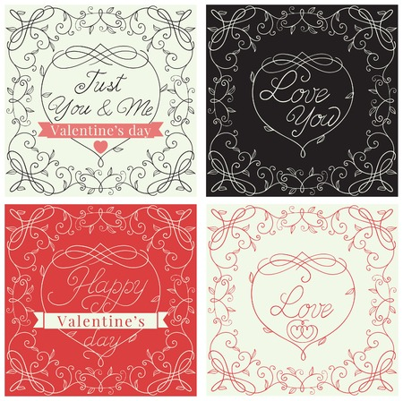 Happy valentines day! Vector set of borders with floral pattern and  text  at retro style Vector