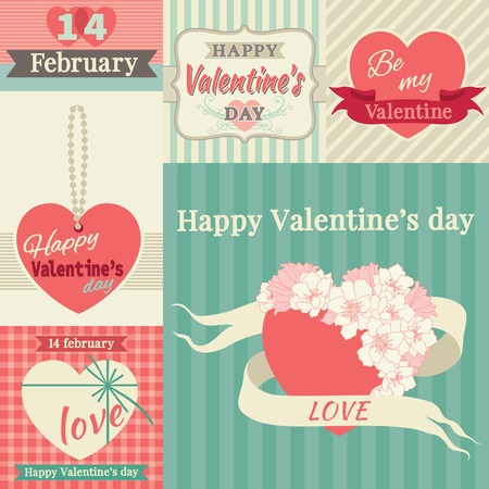 Happy valentines day! Vector set of borders at retro style Vector