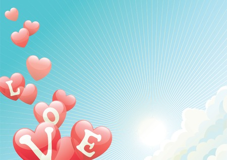 Valentines day.  Vector illustration of heats shape balloons on blue sky with clouds,  sun and sun beams
