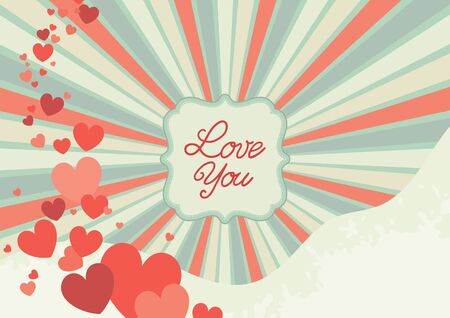 Abstract valentine background. Retro  ornate border with  hearts and text Vector