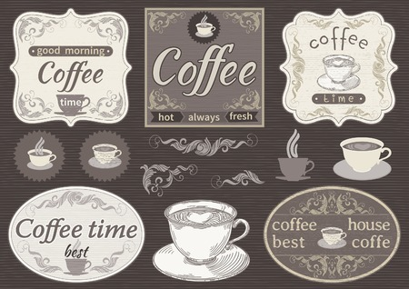 Vintage labels  - coffee time. Vector borders with text and pictures about coffee at retro style. Vector