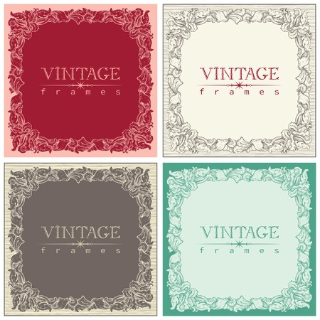 free backgrounds: Vintage frames. Vector set of retro  ornate borders at old engraving style.