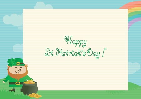 four leafs clover: Happy St. Patrick day! Vector  of page from spiral notebook, leprechaun, pot with gold coins on green spring  landscape. Illustration