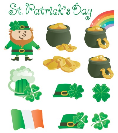 four leafs clover: set for St. Patrick day. Vector  icons for Patricks Day at retro style
