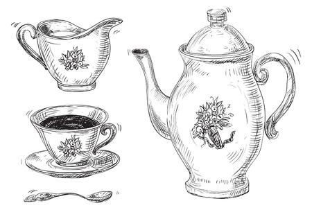 分離したビンテージの紅茶とコーヒーのカップのお茶セット ベクトル