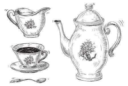 Tea set Vector of vintage tea and coffee cups, isolated