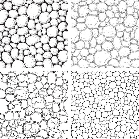 Seamless pattern with stones. Vector set of backgrounds with pebble at engraving style.