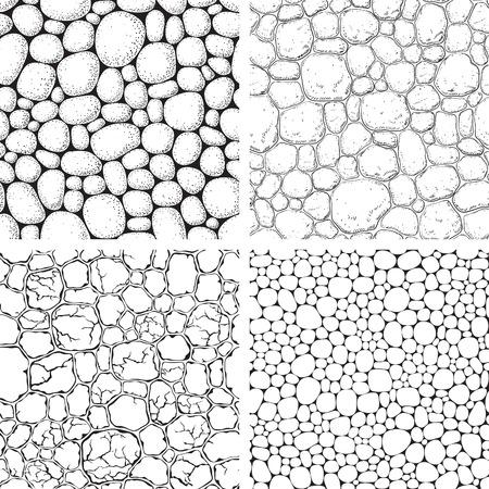 둥근 돌: Seamless pattern with stones. Vector set of backgrounds with pebble at engraving style.