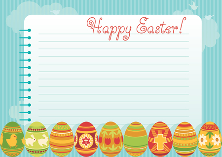exercise book: easter background. Many easter eggs and page of   spiral exercise book on abstract background