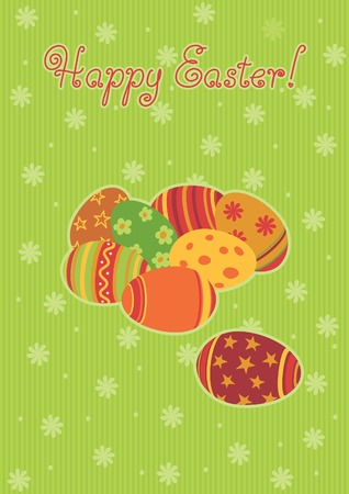 Easter backgrounds. Many easter eggs  and  text Happy easte! on abstract background Vector