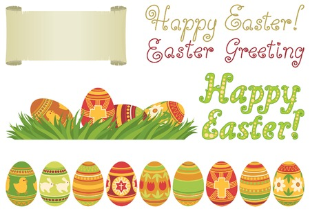 spring roll: Happy easter. Vector set of easter eggs and text Happy easter
