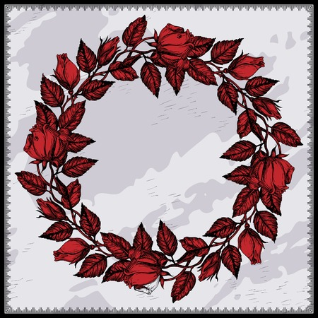 thorn: Rose vintage wreath.  Vector floral circle border. Hand draw at gothic  style
