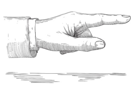 Human pointing hand . Vector of hand  with pointing finger at retro engraving style. Illustration