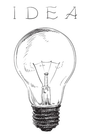 Electric lightbulb. Vector of Light bulb on white background at engraving style. Vector