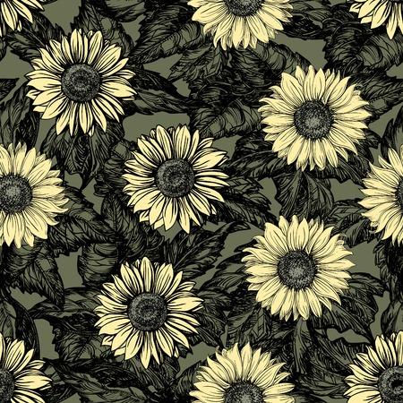 girasol: Fondos florales vintage. Adornado del vector patrones sin fisuras con los girasoles en color de estilo de grabado Vectores