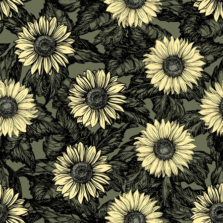 Vintage floral backgrounds. Vector ornate seamless  patterns with Sunflowers at color engraving style Çizim
