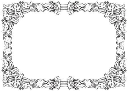 ビンテージ フレーム。ベクトル彫刻スタイルで華やかなボーダーとレトロな背景。