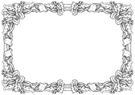 white frame: Vintage frame. Vector retro  background with ornate border at engraving style.