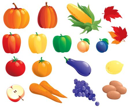 profusion: Fruits  and vegetables. Vector set of many fruits  and vegetables isolated on white background
