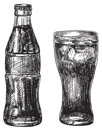 fizz: Drink. Vector Illustration of Glass and Bottle with dark  beverage at doodle style
