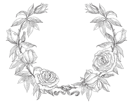 Roses wreath. Rose flower wreath. Vector floral circle border. Hand draw at retro style