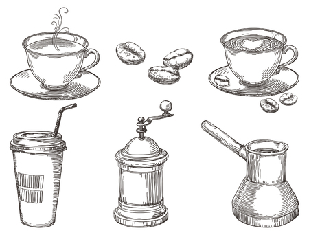 drinking coffee: Coffee things. Vector hand drawn set of coffee at engraving style
