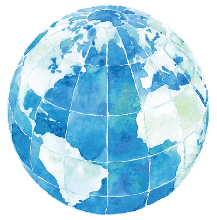 Glode with America, Europe and Africa. Vector illustration of Hand drawn watercolor globe isolated  on white background