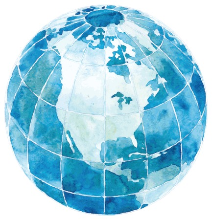 Glode with North AmericaVector illustration of Hand drawn watercolor globe isolated  on white background