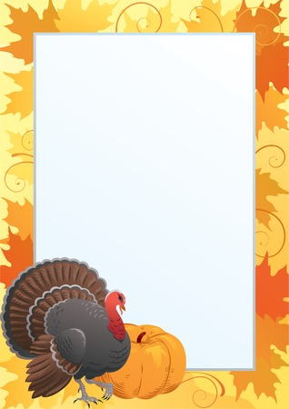 gourds: Thanksgiving frame. Vector border  with  Turkey, pumpkin  and many red and yellow maple leaves.