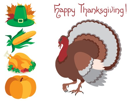 profusion: Icon set  for thanksgiving . Vector symbol objects at flat style