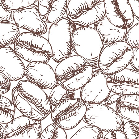 grano de cafe: Modelo del café. Modelo inconsútil del vector con los granos de café en el estilo de dibujo de la mano